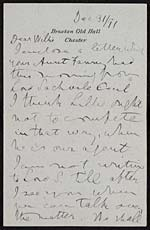 Letter of Lord and Lady Kelvin to their nephew, William Bottomley, 31 December 1891 - Page 1